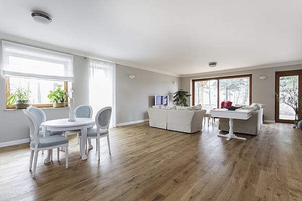 Laminate flooring for an open space home
