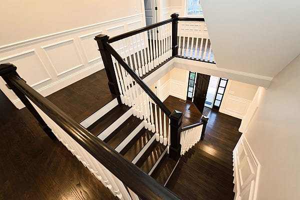 Dark stained timber flooring for staircases image