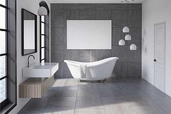 Bathroom porcelain tile flooring