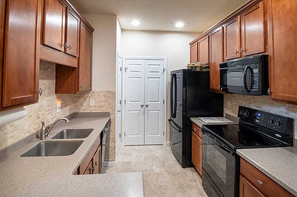 Marble flooring in small kitchen layout