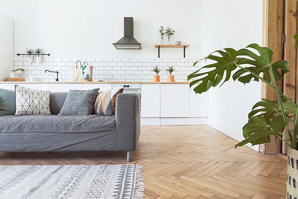 Herringbone natural timber flooring image