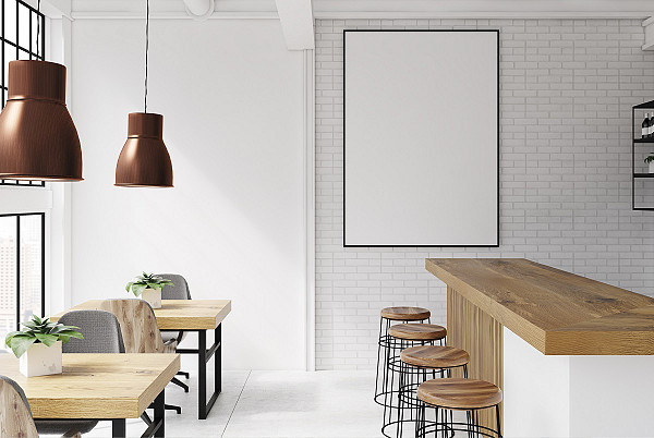 White tile and white walls. image