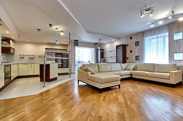 Timber flooring and tile flooring image