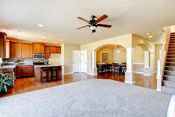 Carpet and timber flooring image