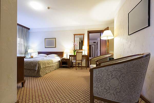 Hotel room carpet floor