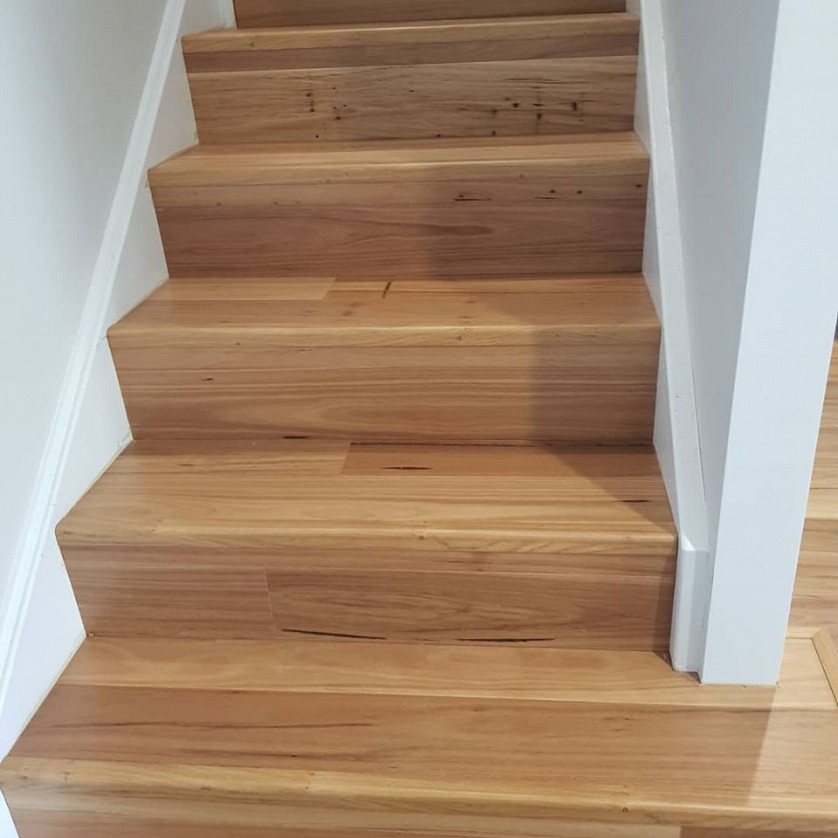 Flooring installation on stairs image